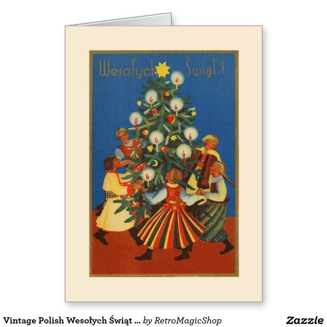 Vintage Polish Wesołych Świąt Christmas Card | Vintage International ...