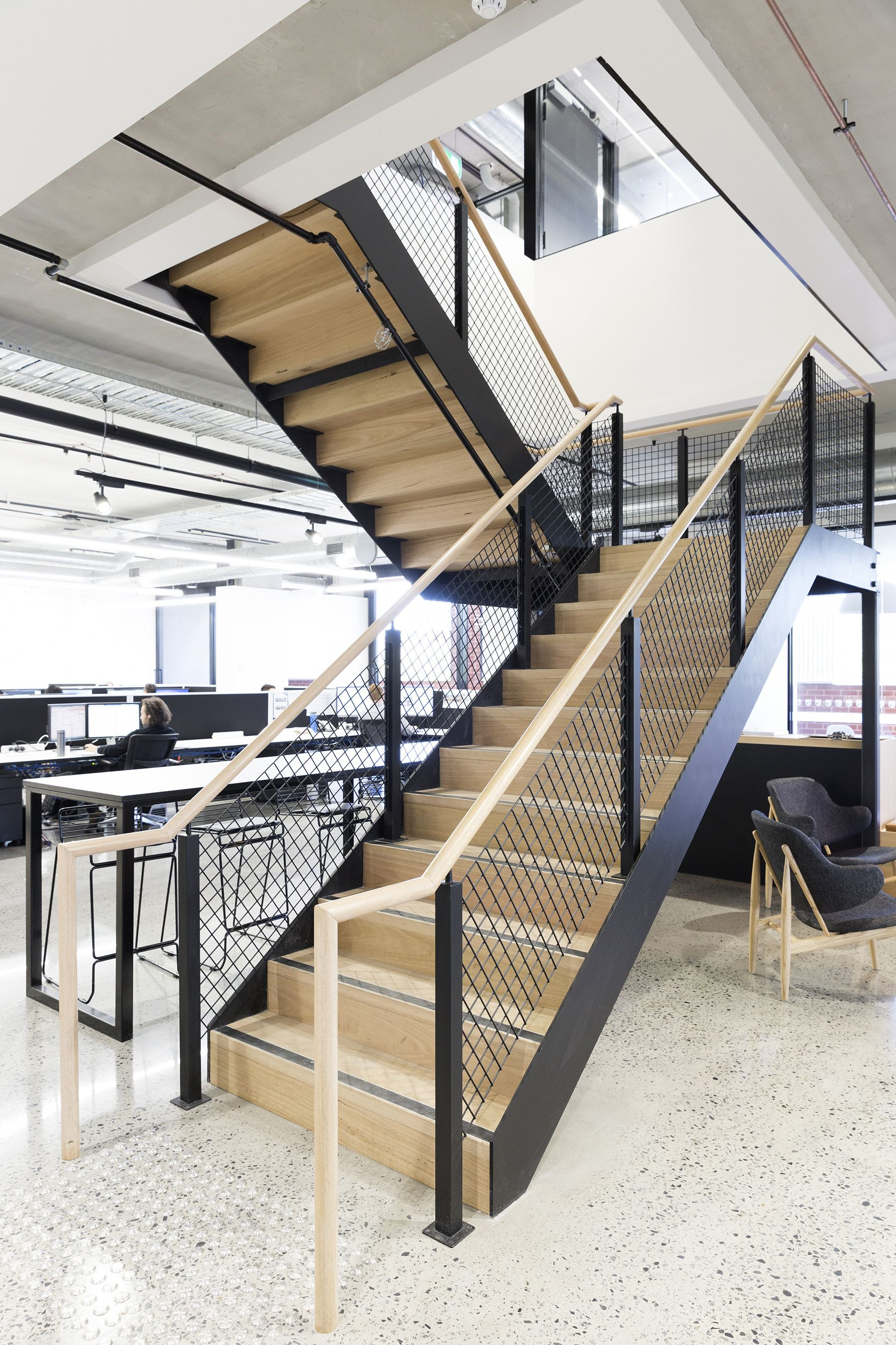 Stairs | Commercial | Treads | Mesh Balustrade | Handrail | Architecture |  Interior Design |