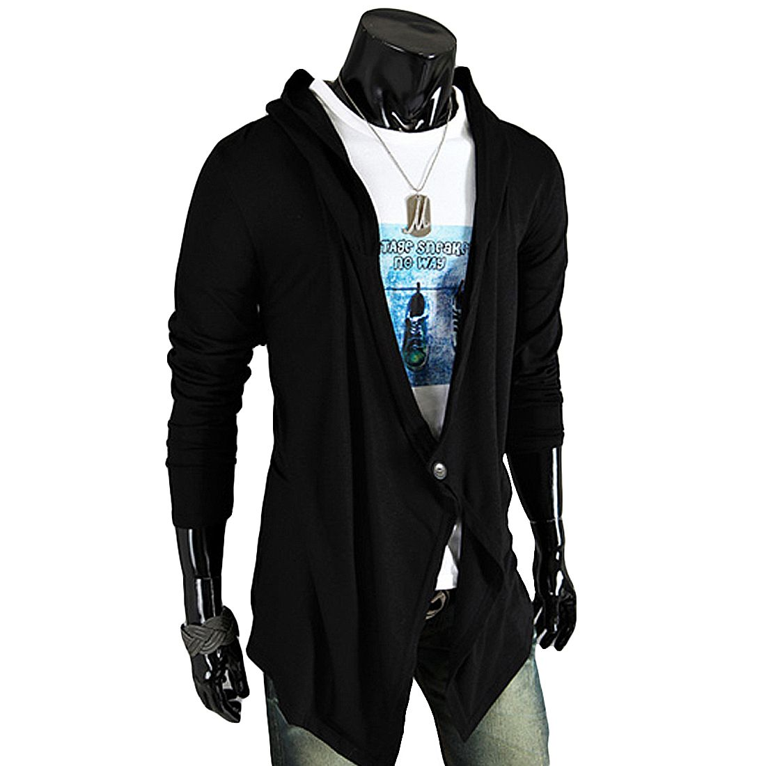 One Button Loose Irregular Mens Cardigans Coats Pull Homme Long ...