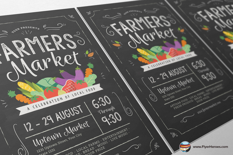 Farmers market flyer template typographybrought