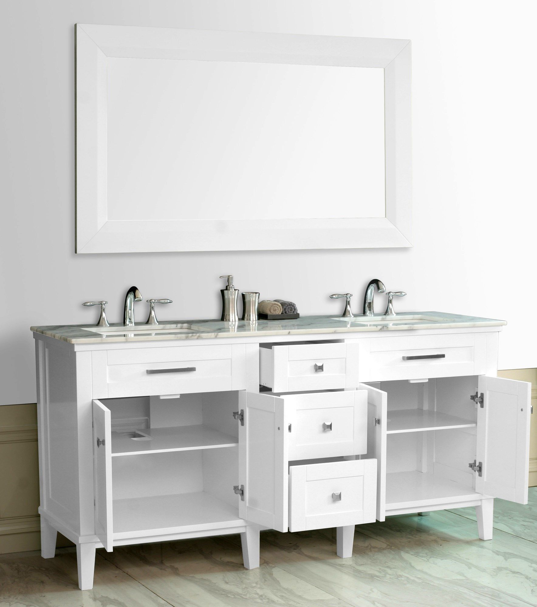 Custom Bath Furniture Double Vanity with Square Tapered Legs