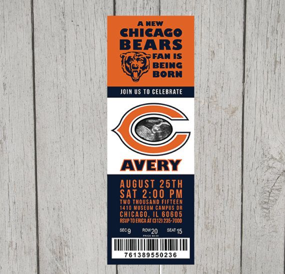 Chicago Bears Baby Shower or Party Invitation by EricaNiwaDesign