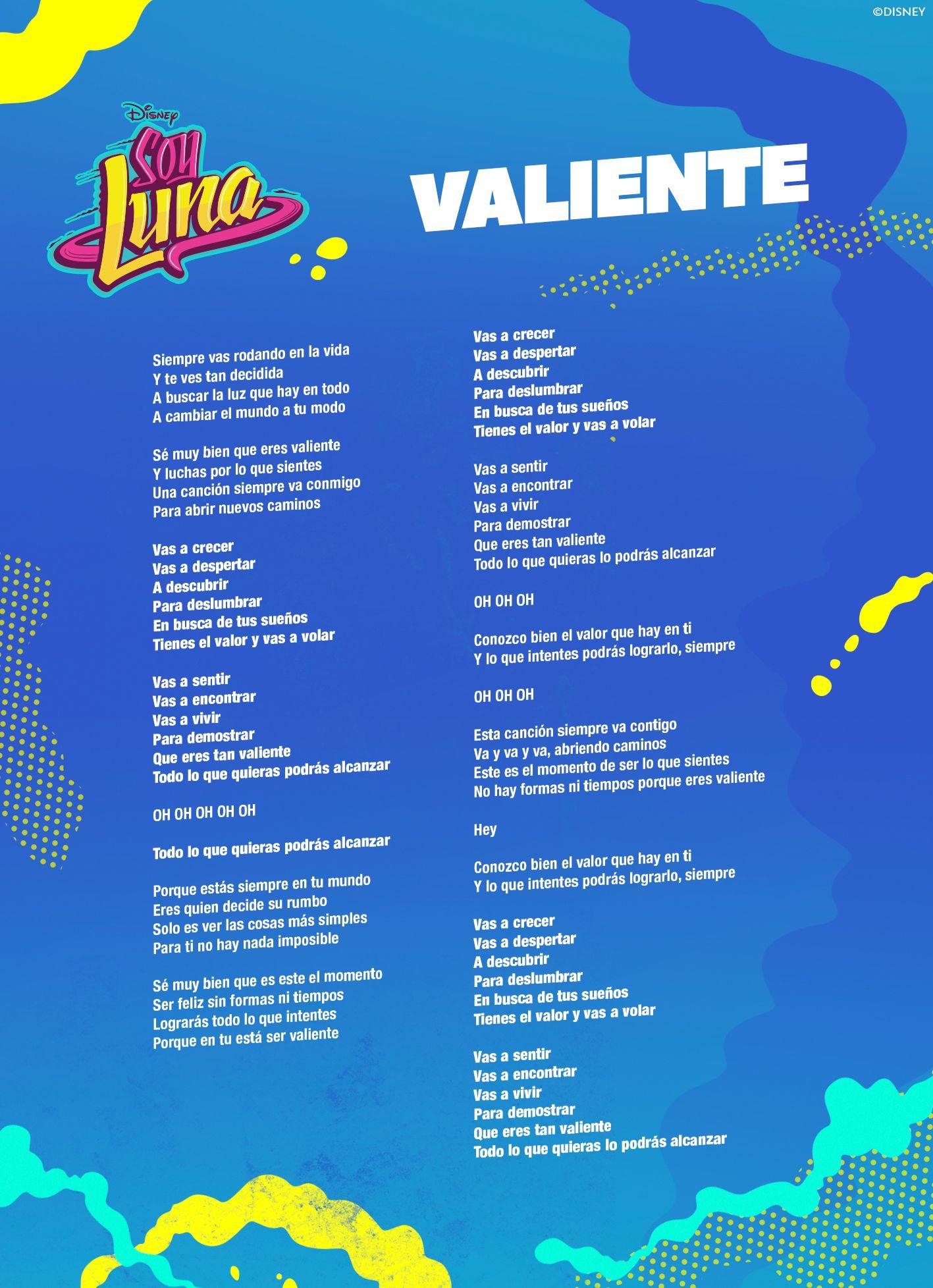 7 Ideas De Canciones De Frozen Canciones Soy Luna Canciones Letra Letra Soy Luna