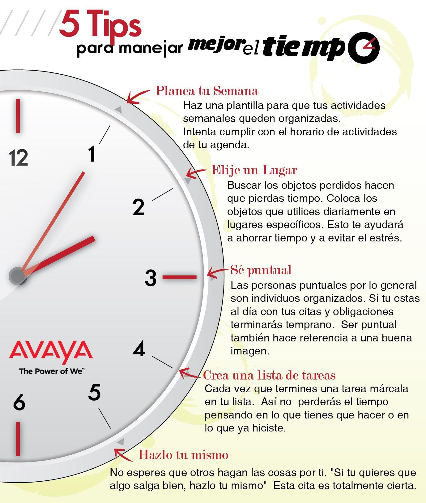 5 tips para manejar mejor el tiempo. #avaya | work | Pinterest | El ...