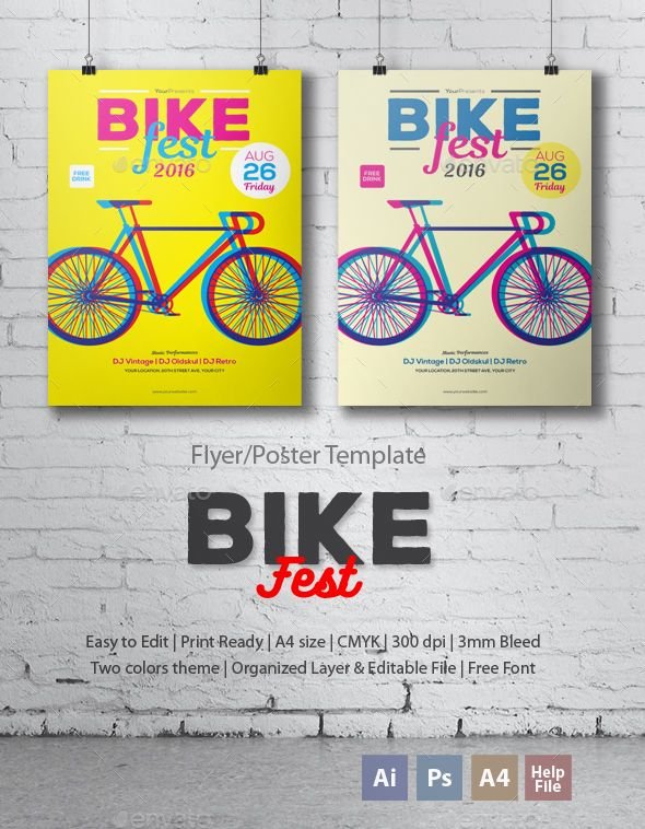 Bike Fest Flyer/Poster | File size, Flyer template and Ai illustrator