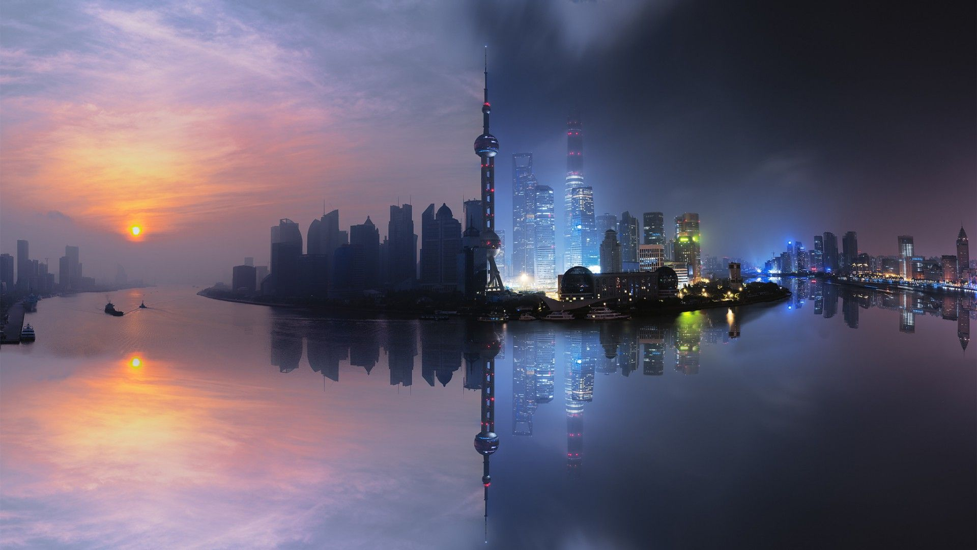 Shanghai Day And Night [1920X1080] Need #Iphone #6S #Plus #Wallpaper
