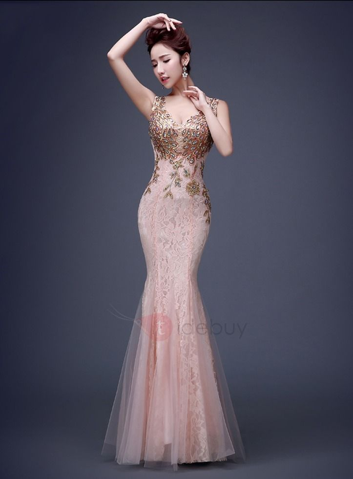 Vingtage V Neck Appliques Beading Lace Evening Dress Formal