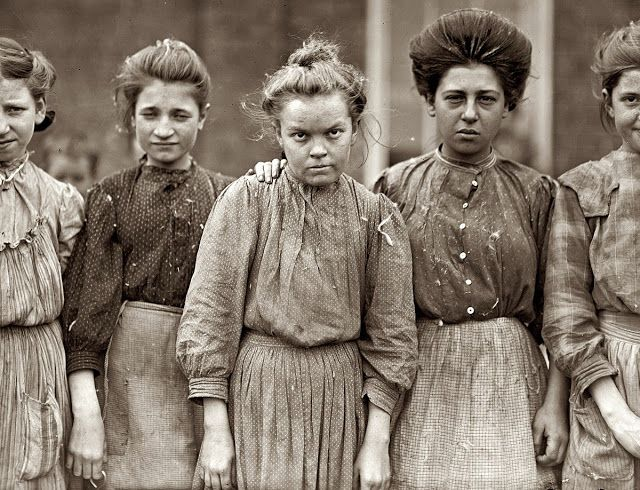 """""""You can't sit with us""""  It's About Time: Labor Day - Women & children in the workplace in early 1900s America by Photographer Lewis Wickes Hine 1874-1940  """"January 19, 1909. Macon, Georgia. Some adolescents in Bibb Mill No. 1"""""""