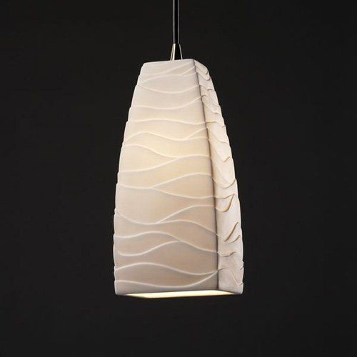 Justice Design Group POR-8816 - Pendants 1 Light Small Pendant - Tall Tapered Square Shade - Brushed Nickel with Waves Shade | from hayneedle.com
