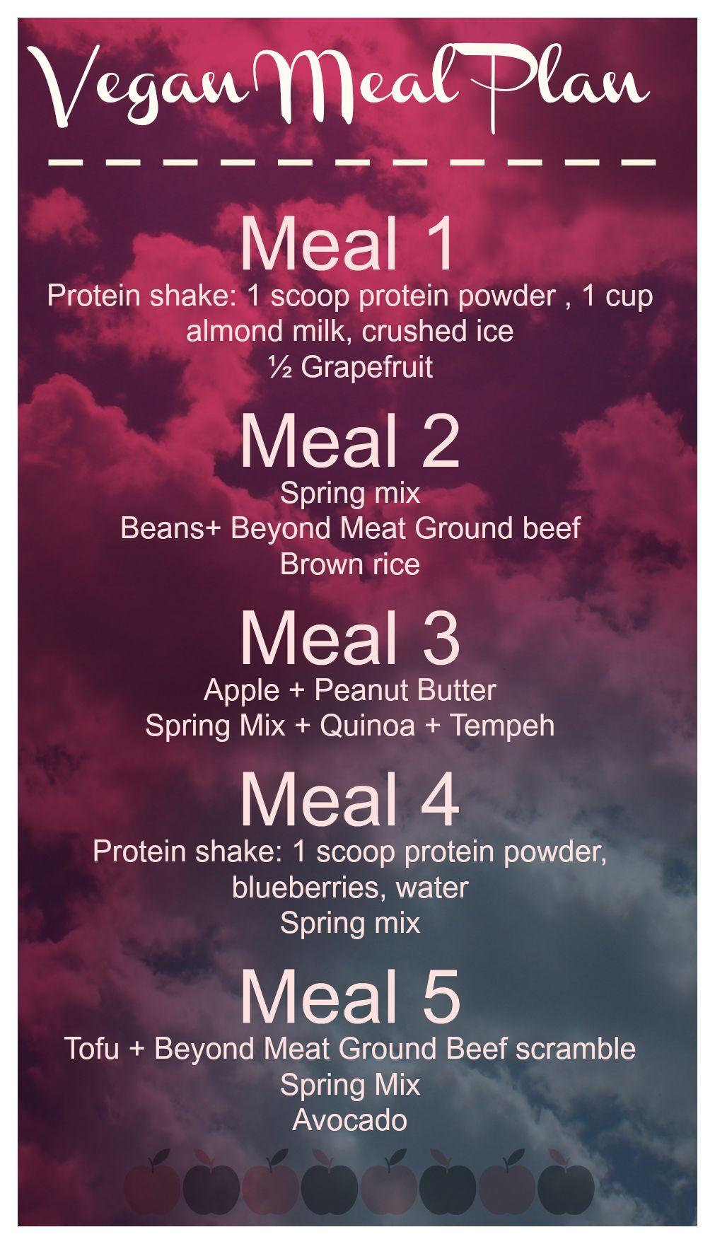 A vegan meal plan based off of 1450-1500 calories. #beyondmeat #vegan # mealplan #nutrirtion