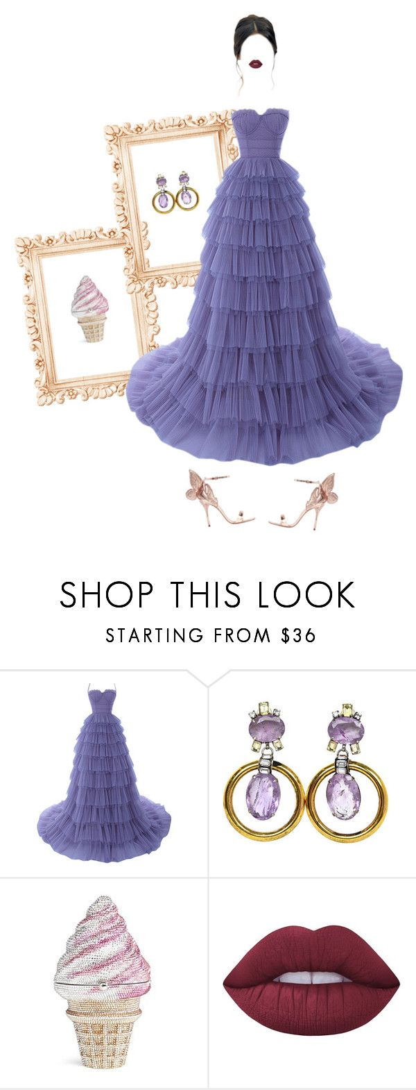 """""""Unusual bag"""" by andreearaiciu ❤ liked on Polyvore featuring Judith Leiber, Lime Crime and Sophia Webster"""