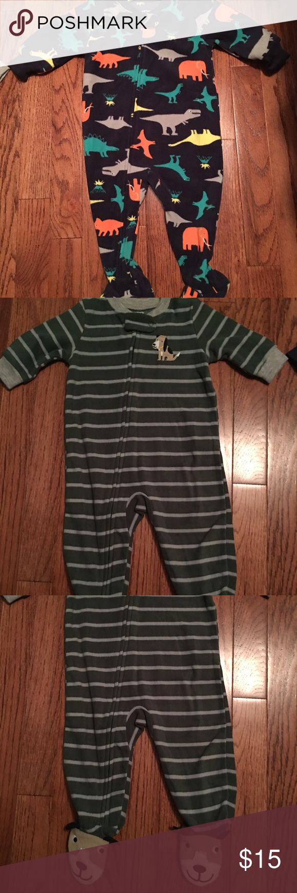 3 pair Carter's pajamas No tags but never worn. Perfect condition. 2 are zip up-6 months. The button up is 3-6months. Warmer material for all three. Carter's Pajamas