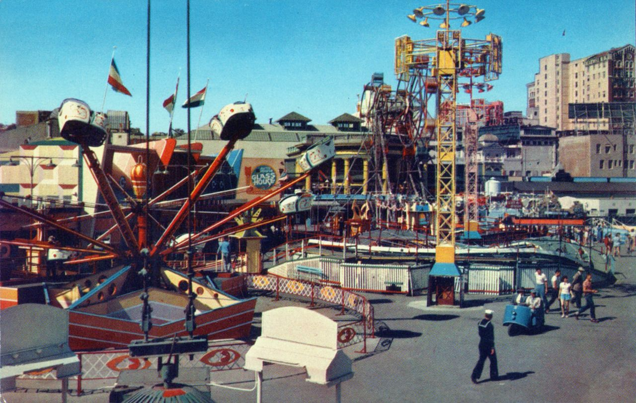 1950 S Pike Long Beach California Vintage Carnival Rides