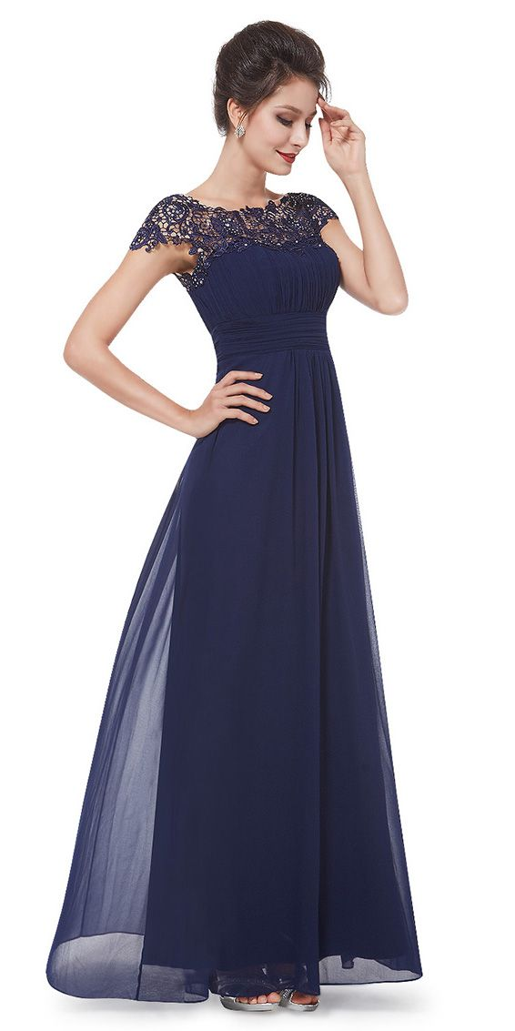 Navy Blue Lacey Long Evening Dress #gorgeous #navy #blue #lace #evening #gown #dress #party #special_occasion #fashion #ideas