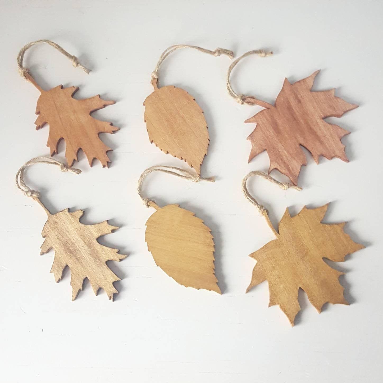 rustic wooden leaf ornaments set of 6 oak leaf maple leaf elm leaf christmas ornaments woodland theme tree in 2020 leaf ornament handmade wall decor fall ornaments pinterest