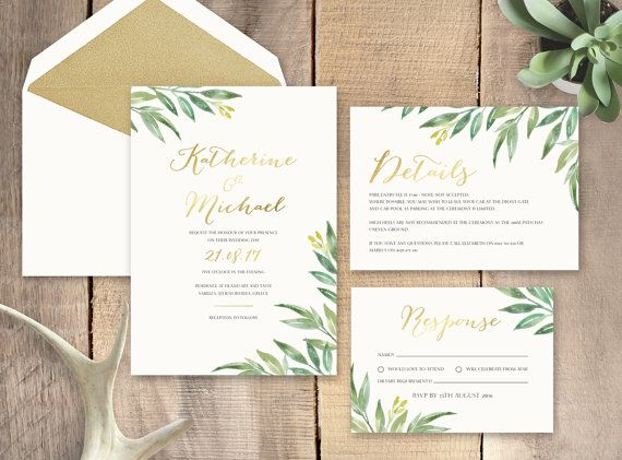 Gold Foil Stamped Wedding Invitations: Greenery With Gold Foil Wedding Invitation By