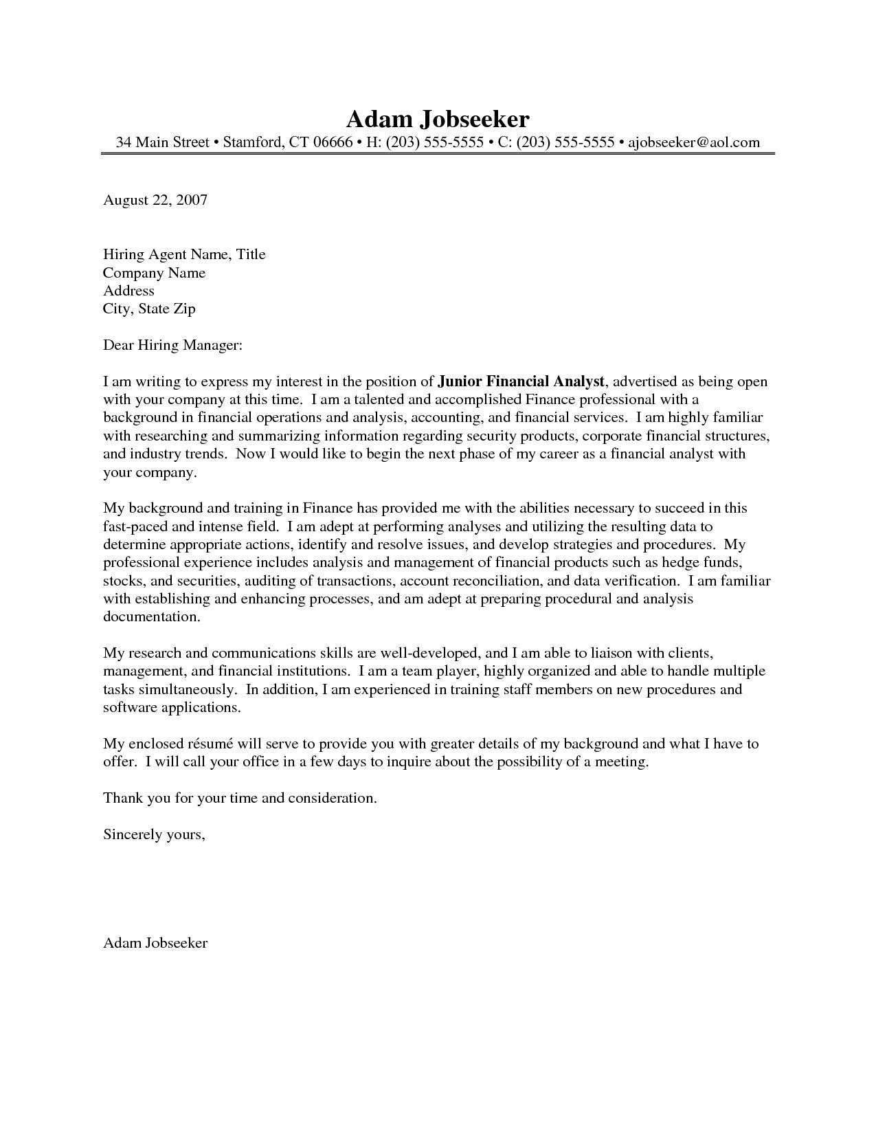 Financial Analyst Cover Letter Example Financial Analyst Cover