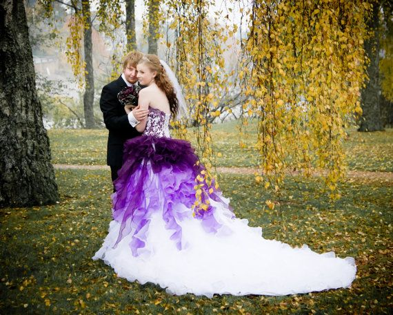 dip dye purple and white ombre wedding dress strapless with lace and organza