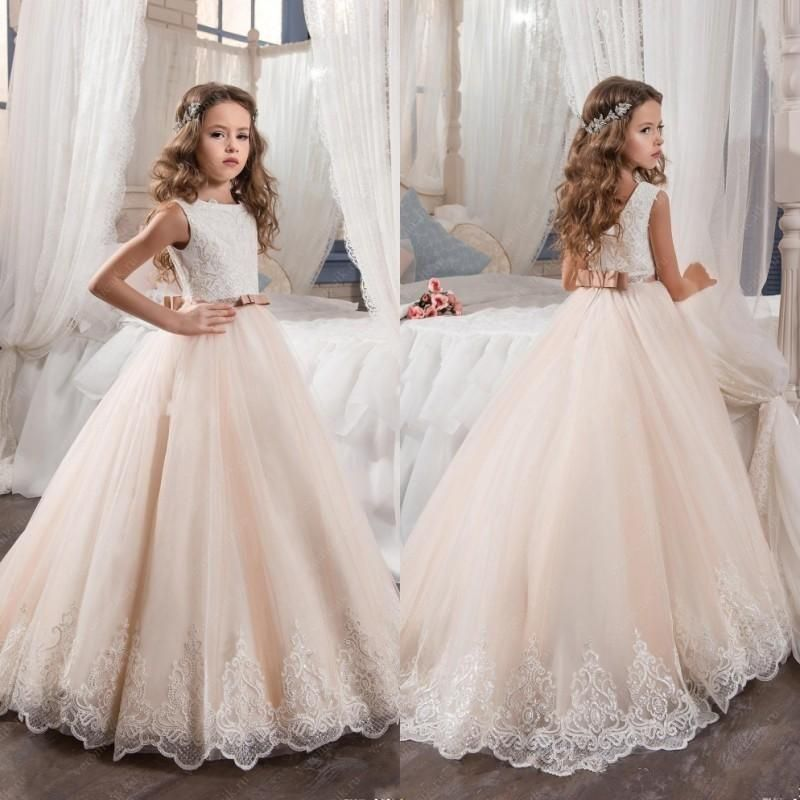 299735073 2018 Vintage Flower Girl Dresses For Weddings Blush Pink Custom Made ...