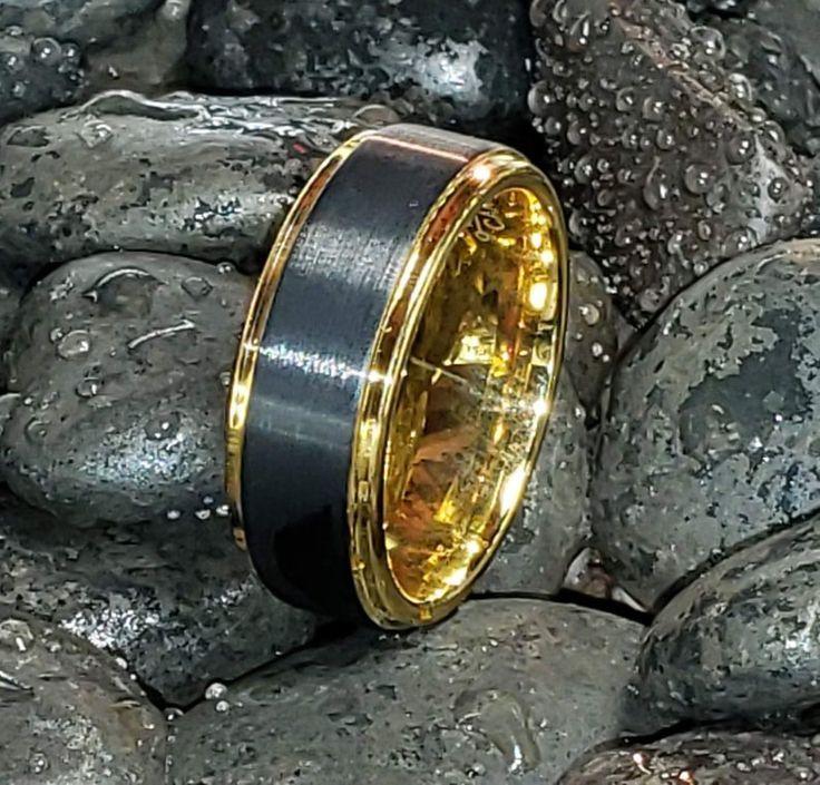 REG 299.99 8mm Mens 18K Gold & Black Tungsten Wedding Band