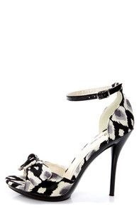Love it!  Promise Bow Black Ikat Print Knotty Bow Peep Toe Heels