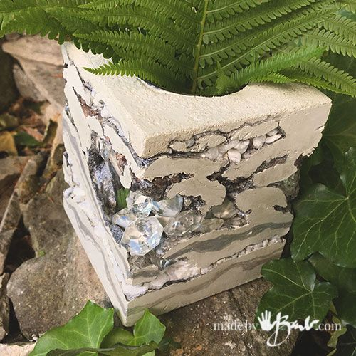 Unique Layered Concrete & Jewel Vases – Made By Barb – Rock texture