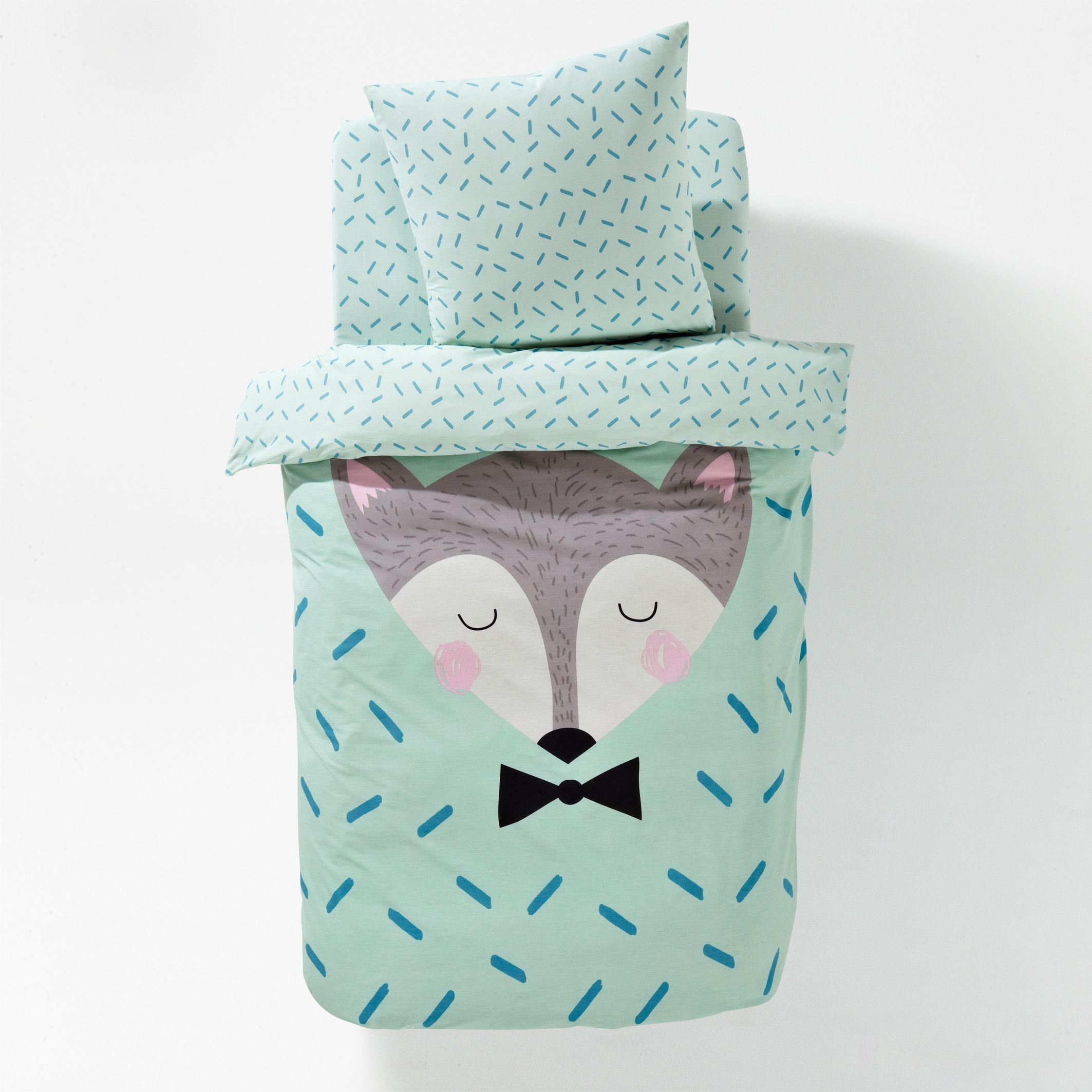 Housse de couette coton sleepy fox kids illustration - La redoute housse couette enfant ...