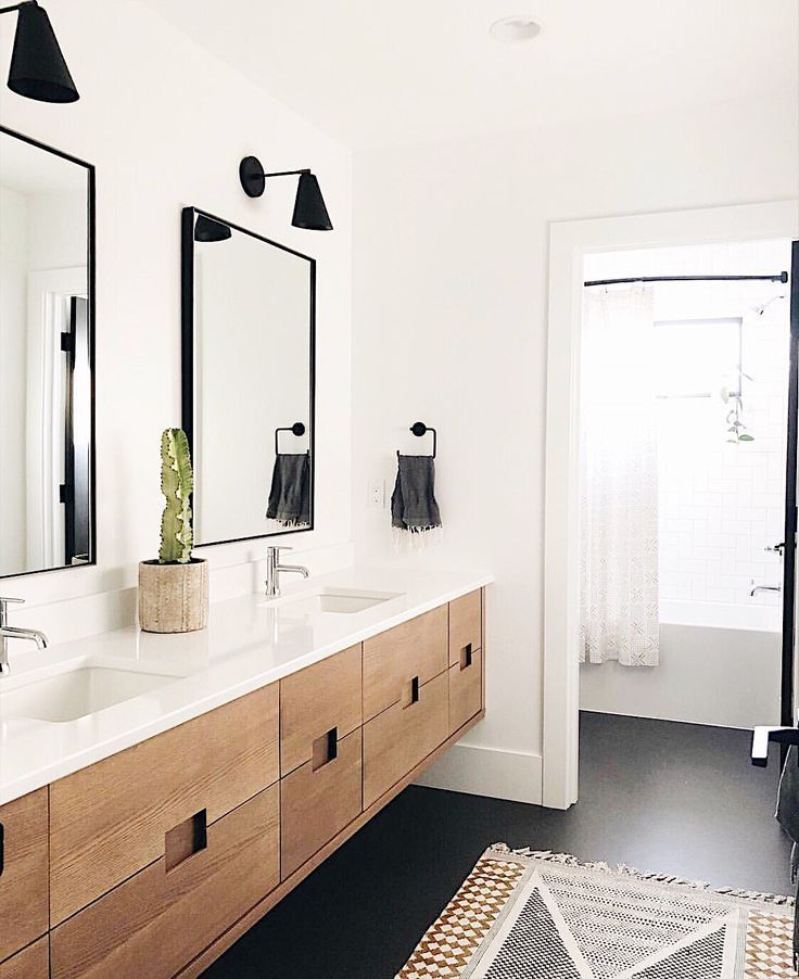 modern bathroom design with modern metal bathroom mirrors, modern black sconce, …