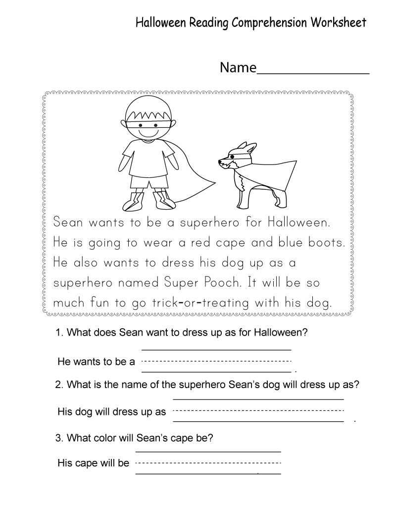 - Free Printable Worksheets For Kids Halloween Reading