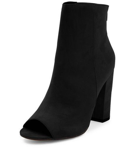 903874032e646 Black Suede Peep Toe Block Heel Ankle Boots