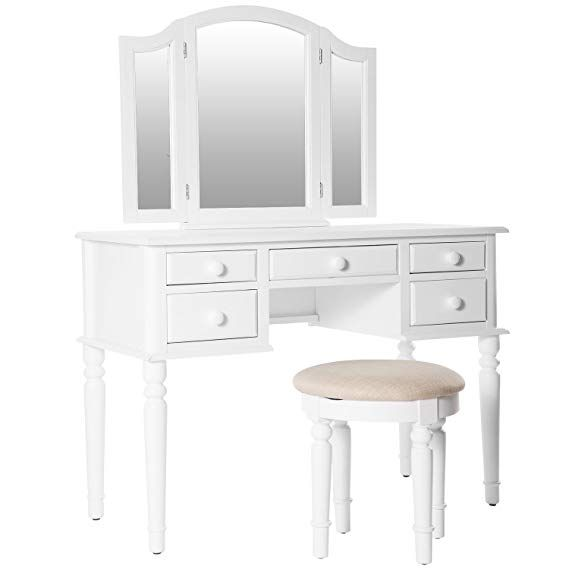 Merax Ella Vanity Set w/Stool Makeup Vanity Dressing Table, Bedroom - Bedroom Vanity Table