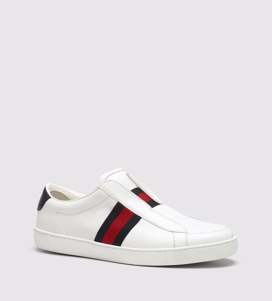 b3c4c18f85e NIB Gucci Mens Brooklyn white leather slip-on sneakers shoes 8.5 US ( 495)   Gucci  FashionSneakers