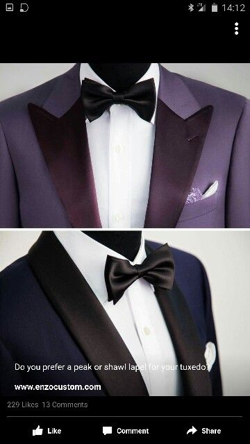 Colors and styles #peaksNShawls #tuxedos