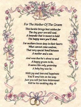 Mother Of The Groom Poems Hankies For Weddings Include Poem On Parchment Paper Brides