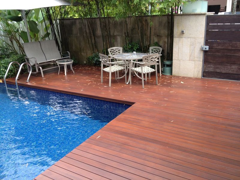 Hypnotic decking over inground pool with timber pool for In ground pool coping ideas