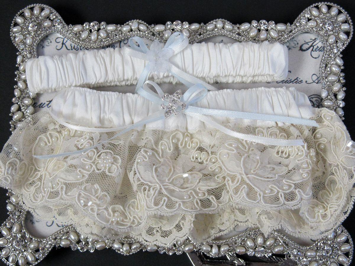 Couture Fleur De Lis Garter Set $72.95; couture lace garter set; lace wedding garters; classic handmade bride garter