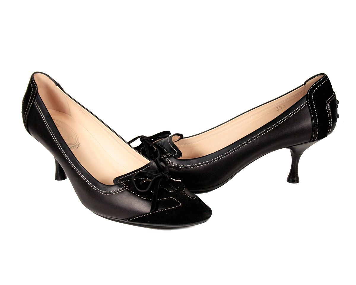 Tod's Women's Shoes Black Designer Leather Low Heel Pumps ...