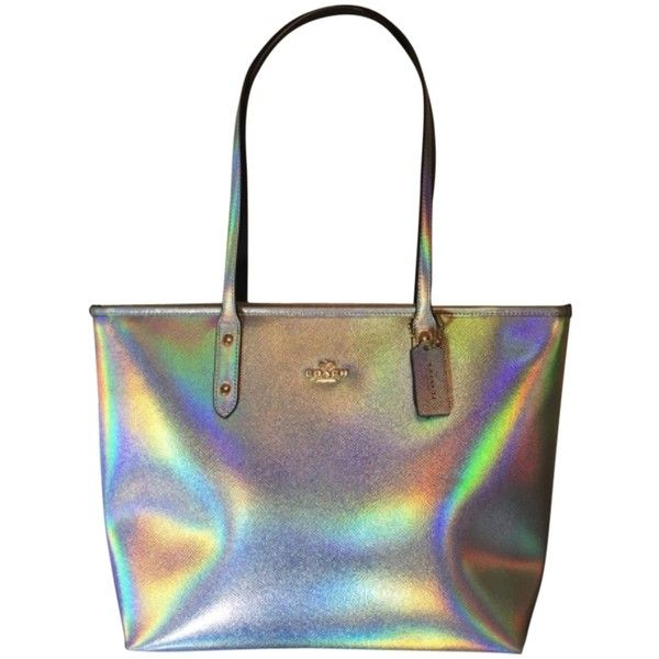 Pre Owned Coach Nwt Hologram City Iridescent Tote Bag 189 Liked On Polyvore Featuring Bags Handbags Wristlet Zip