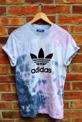 T Shirt Adidas Batik Diy Colours Hippie Vintage