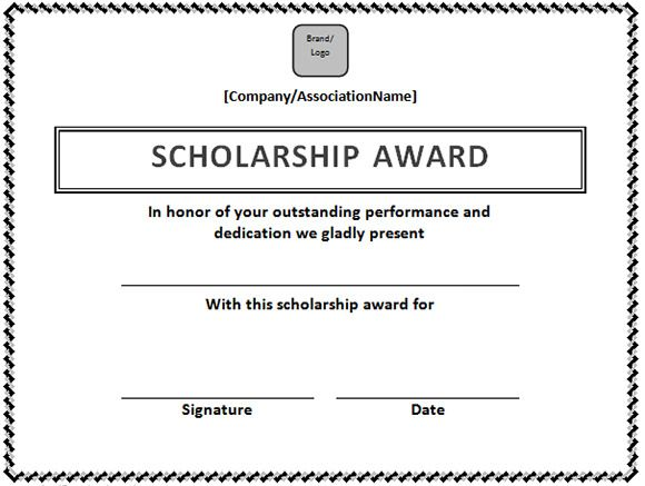 Scholarship Certificate Template In Word Format Microsoft Office Samples And Templates