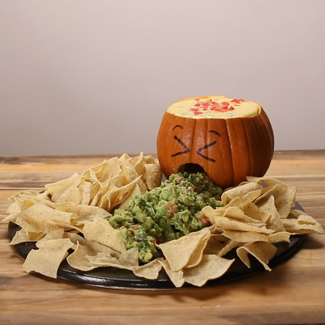 Jack O' Lantern Chips And Dip Recipe by Tasty #partyappetizers