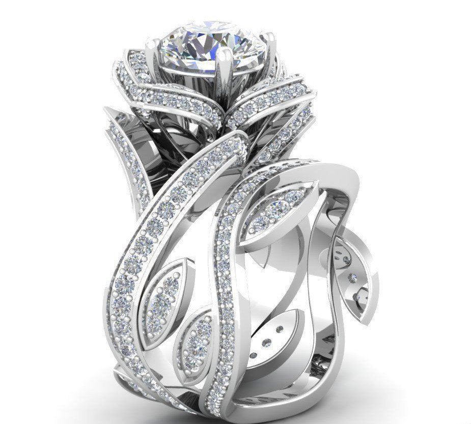 The Knot Has Listed The Top 10 Bridal Set For 2015 16 1 Is The Floral Design Just Like This En Topaz Wedding Ring White Topaz Rings Rose Engagement Ring