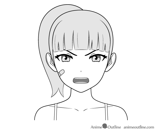 Anime Tough Female Character Angry Face Drawing Anime Eye Drawing Anime Drawings Anime Character Drawing