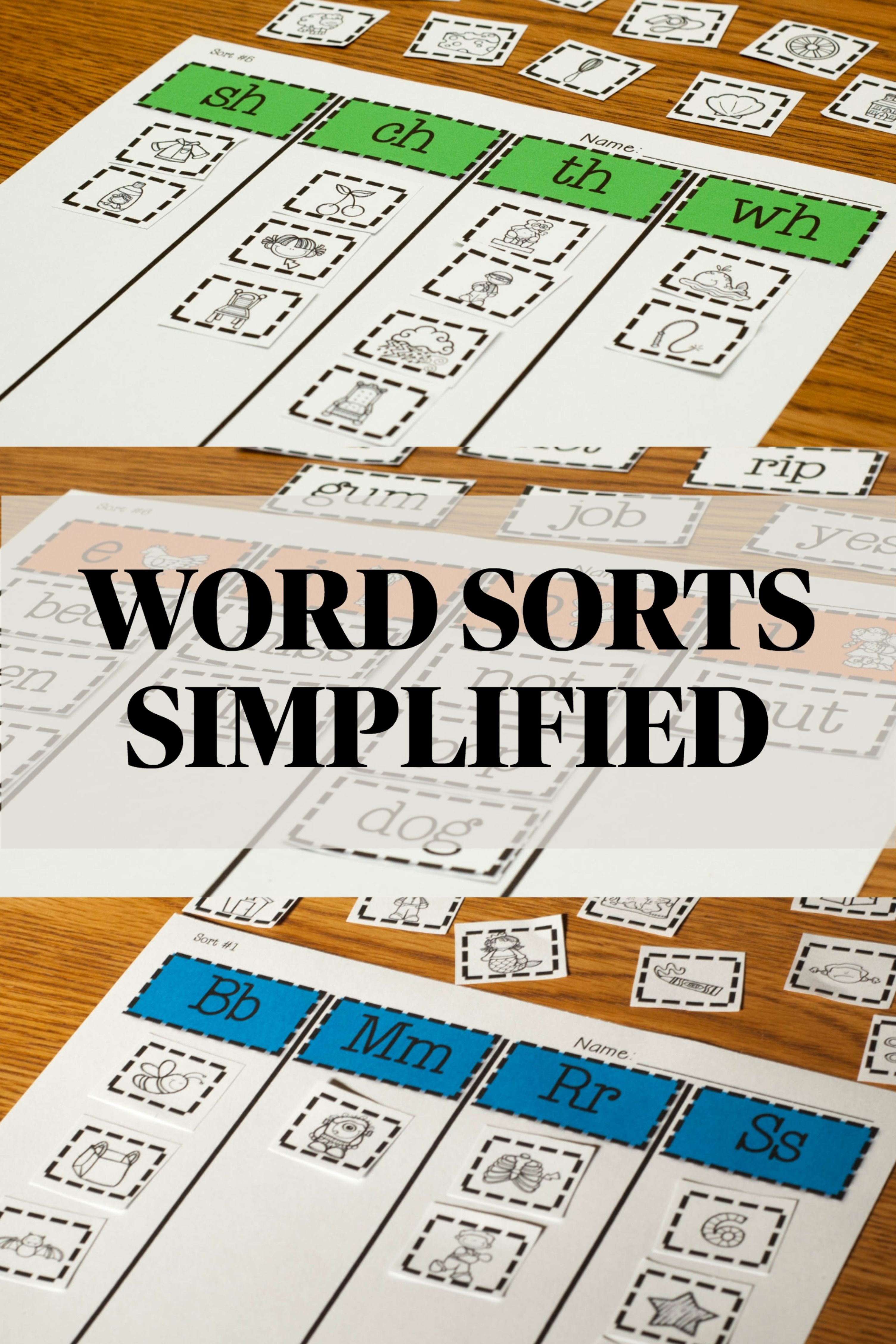 Words Their Way Based Word Sort Set Middle Letter Name