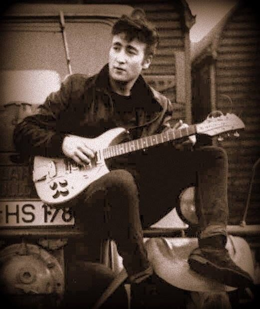 "Lennon bought this guitar short mast, with natural finish, gold pickguard and Kaufmann vibrato in 1960, during the Beatles' first trip to Hamburg after he saw jazzman ""Toots"" Thielmans with the same guitar on the cover of an album..."