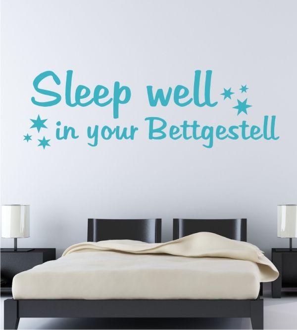 wandsticker wandtattoo wandaukleber schlafzimmer schlafen sleep will in your bettgestell. Black Bedroom Furniture Sets. Home Design Ideas