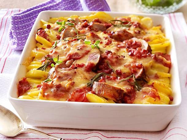Photo of Potato and pork loin gratin in bacon and tomato cream Recipe …