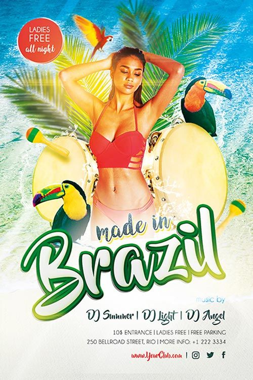 Made In Brazil Free PSD Flyer Template   Http://freepsdflyer.com/