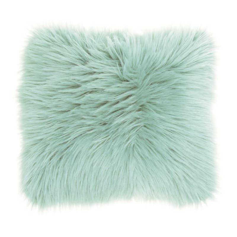 "Mina Victory Plush Faux Fur Celadon Lumbar Pillow 14 -Inch 14/"" x 24/"" Specialty"