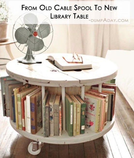 DIY Library Table from old cable spool